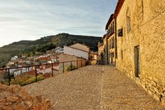 Small spanish old town Ares with mountains view Royalty Free Stock Image