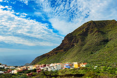 Small spanish town under green mountain on Tenerife island, Spain Royalty Free Stock Photos