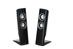 Small Speakers. Pair of Small Computer Speakers Isolated on White Stock Photo