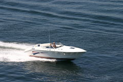 Small speedboat. Near Green Bay, Door County, Wisconsin, taken from our helicopter stock photo
