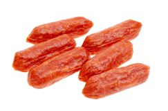 Small spicy salami snacks isolated Stock Photo