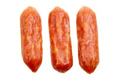 Small spicy salami snacks isolated Stock Photos