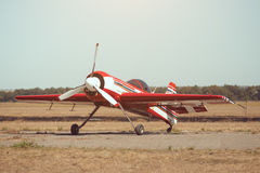 Small sport airplane at the airport. Royalty Free Stock Photos
