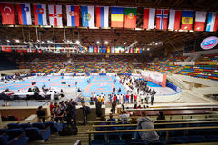 Small sports arena of Olympic Complex Luzhniki. MOSCOW - JUN 9: Small sports arena of Olympic Complex Luzhniki during 10th Team Championship of Europe on karate royalty free stock image