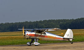 Luxury small sports silver plane Stock Photography