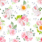 Small spring bouquets of rose, peony, camellia, orchid, carnation, hydrangea, blue berries and eucaliptis leaves. Seamless vector print on white background stock illustration