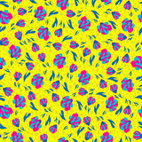 Small spring flowers on a yellow background seamless pattern Stock Image
