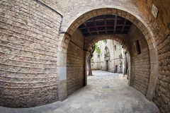 Small square at Barcelona's gothic quarter Royalty Free Stock Image