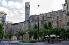 A small square in center of Barcelona, Catalonia, Spain Stock Photos