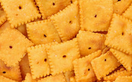 Small Square Cheese Crackers Close View Stock Images