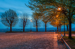 Small square of Diano D'Alba in early morning. Stock Images