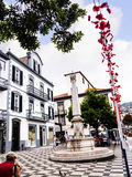 Small Square with fountain near theCathedral called the Se in Funchal on the Island of Madiera Stock Photo