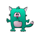 Small square green cartoon cat. With pink belly Royalty Free Stock Image