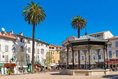 Small square in Old Town of Antibes, France. Royalty Free Stock Photos