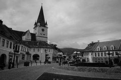 Small square of Sibiu (Hermanndtadt), Romania Royalty Free Stock Photos