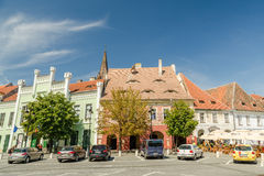 The Small Square In Sibiu Stock Photo