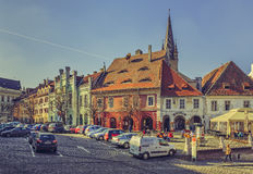 Small Square, Sibiu, Romania Royalty Free Stock Images