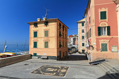 Small square in Sori. Village, Liguria, Italy Royalty Free Stock Images