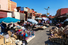 Small square in the souks of Marrakesh Royalty Free Stock Photos
