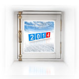 Small square window in the wall with 2014. New year numbers on winter background Stock Image