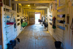 Small stable with wooden corrals Royalty Free Stock Images