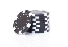 Small Stack of Black Poker Chips Royalty Free Stock Photography