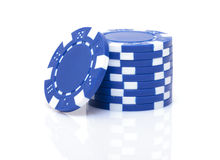 Small Stack of Blue Poker Chips Royalty Free Stock Photos
