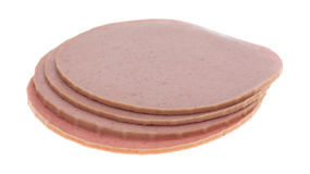 Small stack of bologna slices Stock Images