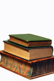 Small Stack of Books. A small stack of three antique books against a white background Royalty Free Stock Photos