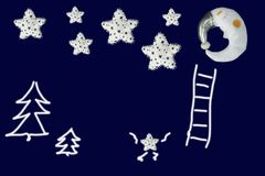 Small star clambers to group of stars near sleeping moon on navy blue background Royalty Free Stock Image