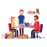 Small start up company. Game or app development. Group of young students software developers programming code together at home garage. Flat style vector Stock Photography