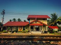 Small station. Local train station with classic design Royalty Free Stock Photos