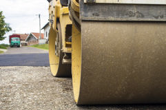 Small steamroller in action Royalty Free Stock Photo
