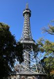 Small steel Eiffel tower in Prague stock image