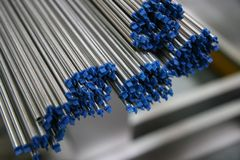 Small steel pipe ends Stock Images