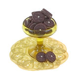Tiny Chocolate Filled Cookies Dish Doily Stock Photos