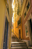 Small steps street in corfu. Town greece Royalty Free Stock Photo