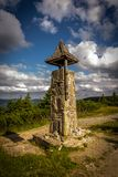 Small stone belfry on the of the hill Serak in Jeseniky royalty free stock image