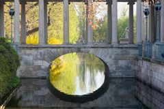 Small stone bridge in Lazienki Park Royalty Free Stock Photo