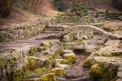 Small stone bridge over the creek Stock Photo