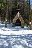 Small stone chapel in Bily kriz during winter Royalty Free Stock Photography