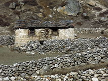 Small stone hut in the Everest Region Stock Photo