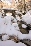 Small stone made bridge. Old stone made bridge in the middle in the forest crossing river creek in winter in alps Royalty Free Stock Photography