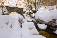 Small stone made bridge. Old stone made bridge in the middle in the forest crossing river creek in winter in alps Royalty Free Stock Images