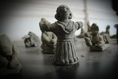 SMALL STONE STATUE. Ancient statue reflects the history of India Royalty Free Stock Image