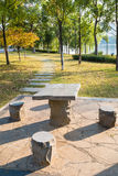 Small stone table in the park Royalty Free Stock Photo
