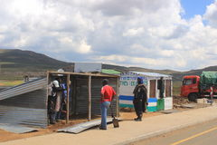 Small store being built by the Lesotho border control in the Sani Pass Stock Photography