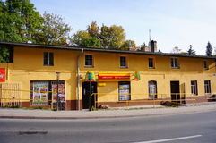 Small stores. With grocery by a street in the town Karpacz, Poland Royalty Free Stock Photos