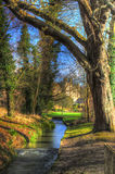 Small stream in the castle park - HDR Royalty Free Stock Photos