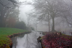 Small stream on a cold foggy winters day Stock Photos